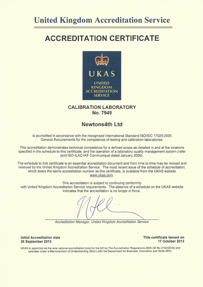 N4L UKAS ISO17025 Power Calibration Certificate 2013